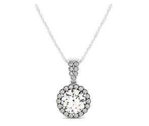 Single Halo Double Diamond Row Bail Pendant