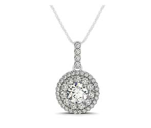 Double Halo Graduated Diamond Row Pendant