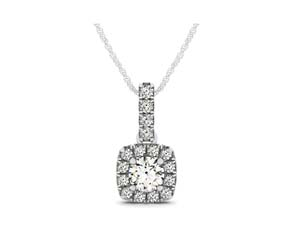 Drop Halo Cushion Frame Diamond Bail Pendant