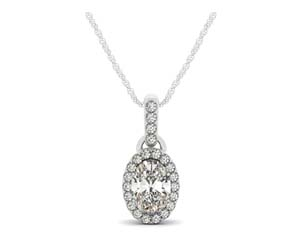 Link Style Oval Diamond Single Halo Pendant