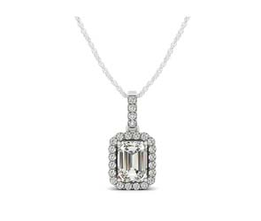 Drop Three Prong Halo Emerald Cut Diamond Pendant
