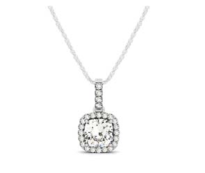 Drop Three Prong Halo Cushion Cut Diamond Pendant