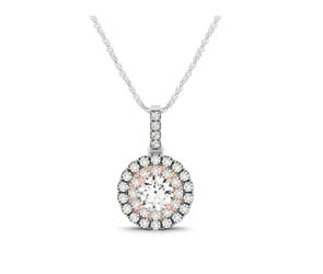 Two Tone Double Halo Drop Style Pendant