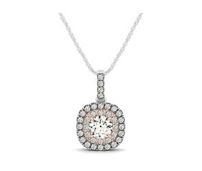 Two Tone Double Halo Cushions Drop Style Pendant