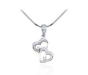 Diamond Double Heart Ladies Fashion Pendant<br> .15 Carat Total Weight