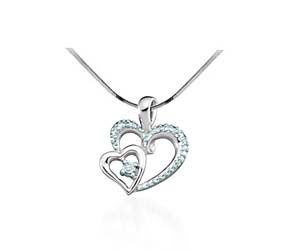 Two Hearts Ladies Diamond Pendant<br> .03 Carat Total Weight