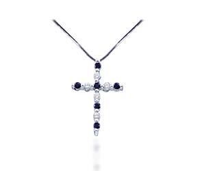 Black Diamond Cross Pendant<br> 1/10 Carat Total Weight