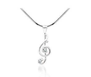 Diamond Treble Clef Fashion Pendant<br> .05 Carat Total Weight