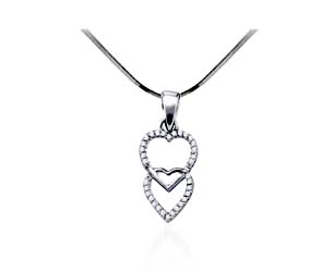 Dual Hearts Diamond Heart Pendant<br> 1/10 Carat Total Weight