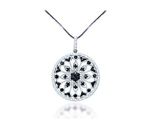 Black Diamond Circle Pendant<br> 1/2 Carat Total Weight