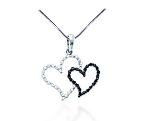 Dual Hearts Diamond Pendant<br> .17 Carat Total Weight