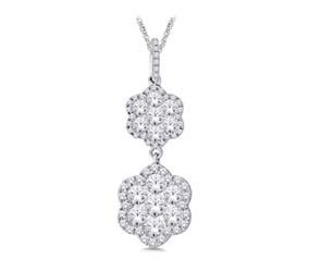 Diamond Dangle Flower Pendant