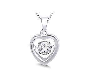 Moving Diamond Heart Pendant