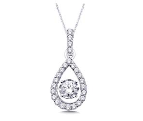 Moving Diamond Tear Drop Shaped Fashion Pendant