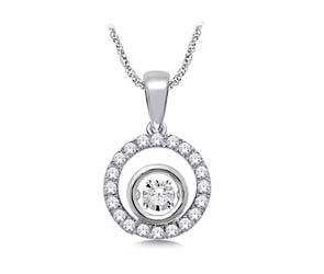 Moving Diamond Circle Pendant