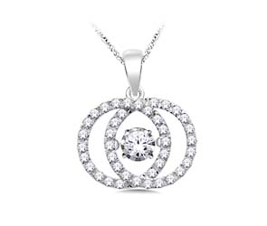 Interlocking Circles Moving Diamond Pendant