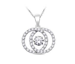 Interlocking Circles Moving Diamond Pendant