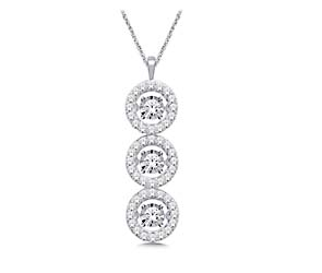3 Stone Moving Diamond Fashion Pendant