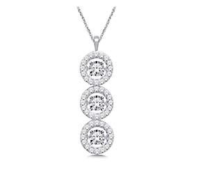 3 Stone Moving Diamond Fashion Pendant