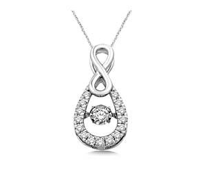 Moving Diamond Tear Drop Pendant