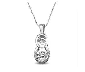 2 Stone Moving Diamonds Pendant