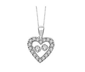 2 Stone Moving Diamond Heart Pendant