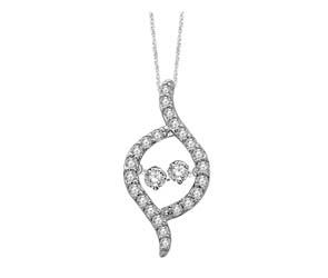 2 Stone Moving Diamonds Fashion Pendant