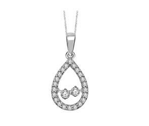 Two Stone Moving Diamond Pendant