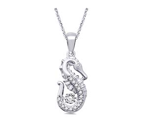 Moving Diamond Seahorse Diamond Pendant