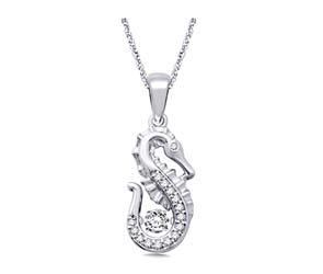 Moving Diamond Seahorse Diamond Pendant