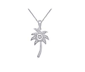 Moving Diamond Palm Tree Fashion Pendant