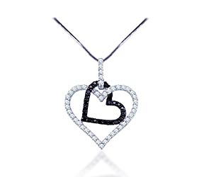 Hanging Hearts Diamond Pendant<br> 1/2 Carat Total Weight
