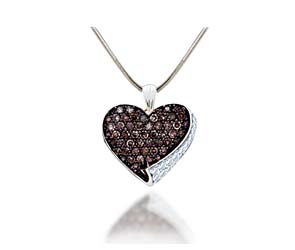 Ladies Champagne Diamond Heart Pendant<br> .85 Carat Total Weight
