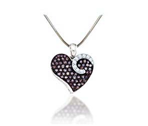 Ladies Heart Champagne Diamond Pendant<br> 3/4 Carat Total Weight