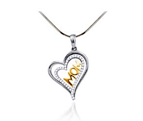 Moms Diamond Heart Pendant<br> 1/5 Carat Total Weight