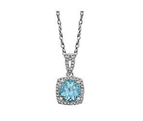 Halo-Style Aquamarine Diamond Pendant