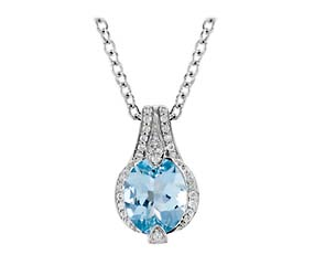 Tapered Aquamarine Diamond Pendant
