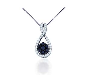 Ladies Black Diamond Fashion Pendant<br> 3/8 Carat Total Weight