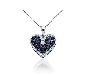 Black Diamond Heart Pendant<br> 1/2 Carat Total Weight