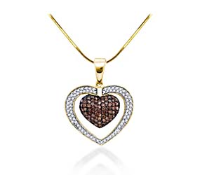 Champagne Diamond Heart Pendant<br> 1.06 Carat Total Weight