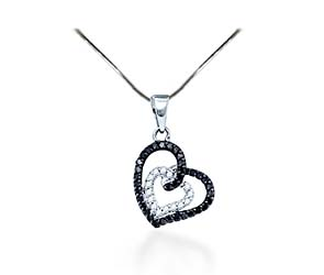 Black Diamond Hanging Hearts Pendant<br> 1/3 Carat Total Weight
