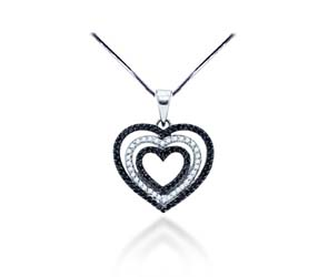 Black Diamond Heart Pendant<br> .69 Carat Total Weight