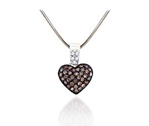 Diamond Heart Champagne Pendant<br> 3/8 Carat Total Weight