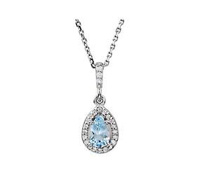 Pear Shaped Aquamarine Diamond Pendant