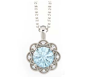 Aquamarine Diamond Flower Pendant