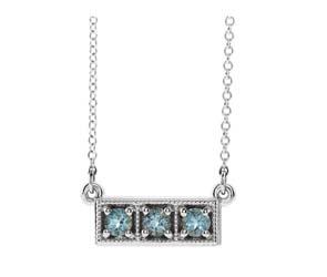Three Stone Aquamarine Necklace