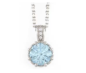 Aquamarine Diamond Bail Pendant