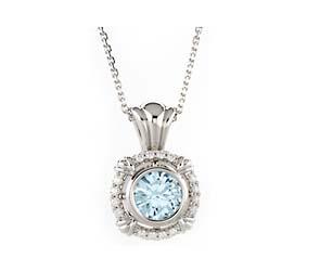Diamond Aquamarine Pendant