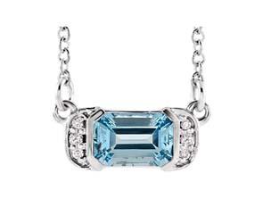Accented Bar Aquamarine Diamond Pendant