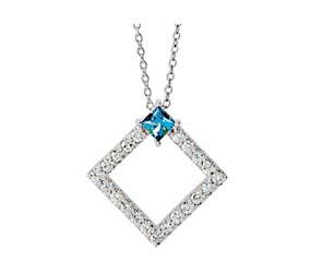 Accented Geometric Diamond & Aquamarine